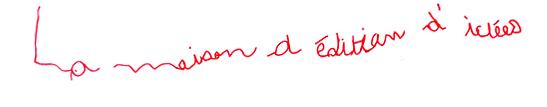 le logo de Bienvenue sur le site officiel de La maison d'édition d'idées écrit à la main par un enfant